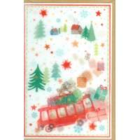"""Carte double """"Merry Christmas"""" lenticulaire Les jouets"""
