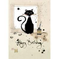 Carte double Happy Birthday Chat et calligraphie