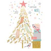 Carte double Louise Tiler Joyeux Noël Le sapin et les oiseaux