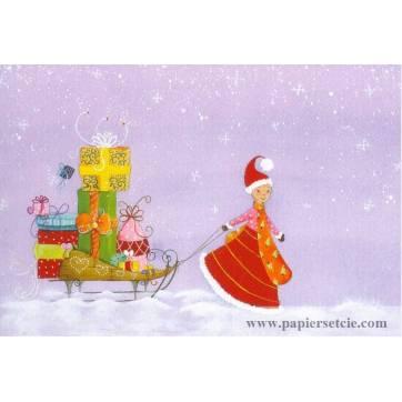Carte Claire Vogel Elfe et traîneau empli de cadeaux