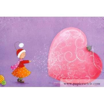 Carte Claire Vogel Elfe et ballon coeur