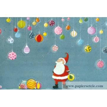Carte Claire Vogel Père Noël et Boules de Noël