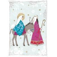 Carte double pailletée Joyeux Noël Marie et Joseph