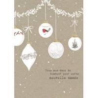 Carte double pailletée Tous nos Voeux Boules de Noël