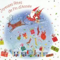 Carte Joyeuses Fêtes Père Noël et cadeaux
