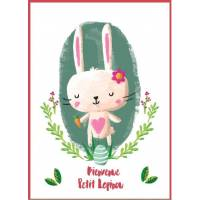 "Carte artisanale simple ""Bienvenue Petit Lapinou"" rose"