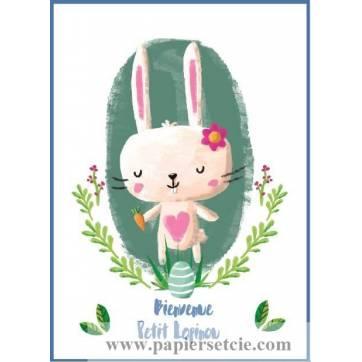 "Carte artisanale simple ""Bienvenue Petit Lapinou"" bleu"
