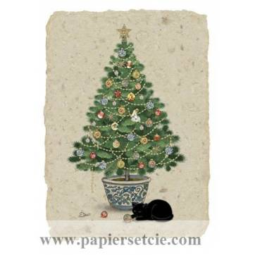 Carte double Chat et Sapin de Noël