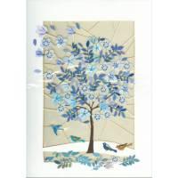 Carte découpée au laser L'arbre aux fleurs bleues