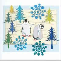 Carte découpée au laser Meilleurs Voeux Les Pingouins