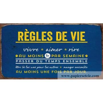 """Pancarte Panneau de Porte vintage """"Règles de Vie"""""""