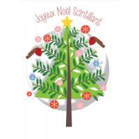 Carte découpée au laser Joyeux Noël scintillant