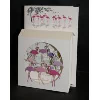 """Carte anglaise 3D laser """"Petite boite"""" Flamingos"""
