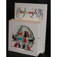 """Carte anglaise 3D laser """"Petite boite"""" Les Chats"""