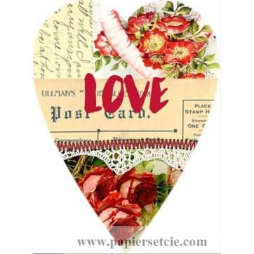 Carte artisanale Vintage Coeur Love Fleurs rouges