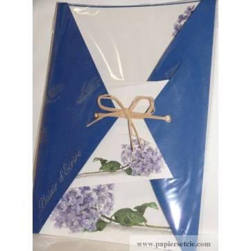 """Papier à lettre papier recyclé """"Maki Papier"""" Hortensias bleus"""