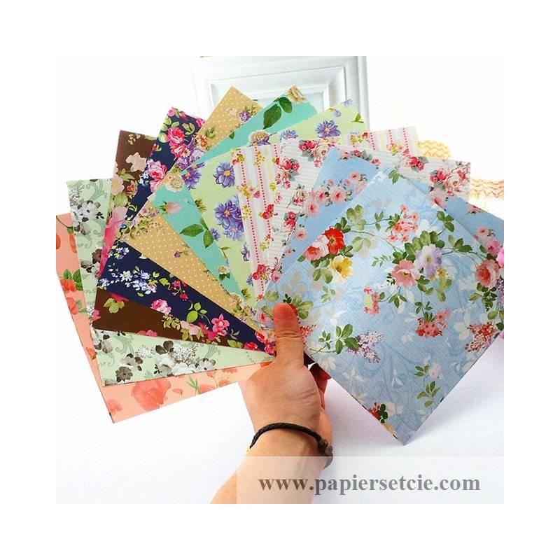 papier origami japonais feuilles fleuries assorties. Black Bedroom Furniture Sets. Home Design Ideas