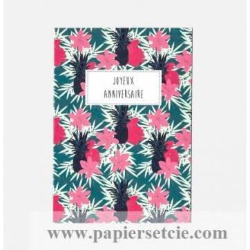 """Carte Joyeux Anniversaire collection Rose Pivoine """"Azalées"""""""