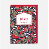 """Carte double Merci collection Fox in the snow """"Fleurs exotiques"""""""