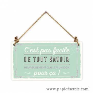 """Pancarte Panneau de Porte Humoristique """"C'est pas facile de tout savoir""""..."""