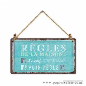 """Pancarte Panneau de Porte Humoristique """"Règles de la Maison"""""""