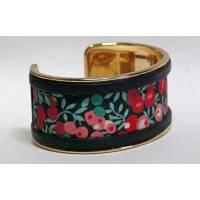 Bracelet Manchette en Tissu Liberty Mitsi Marine, cordon rouge