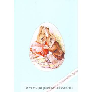 Carte double Pâques Peter Rabbit en Pic Nic
