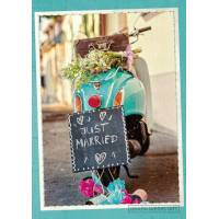"Carte double Félicitations Mariage ""Just married"" Vespa rose"