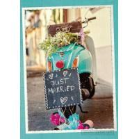 "Carte double Félicitations Mariage ""Just married"" Vespa bleue"