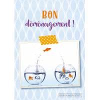 """Carte double """" Bon Déménagement"""" les Poissons rouges"""