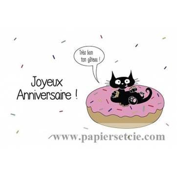 """Carte humoristique simple Pickled cat Joyeux Anniversaire, """"Très bon ton gateau"""""""