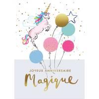 """Carte double Louise Tiler Joyeux Anniversaire magique """"la Licorne"""""""