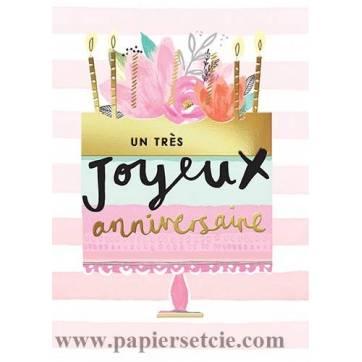 Carte Louise Tiler Un Tres Joyeux Anniversaire Gateau Et Fleurs