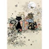 Carte double Chat fleurs et cadeaux