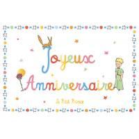 """Carte Citation Le Petit Prince dorée """"Joyeux Anniversaire"""" Renard et Fleur"""