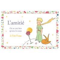 """Carte Citation Le Petit Prince dorée """"L'Amitié"""" On ne voit bien qu'avec le coeur"""