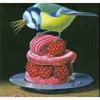 Carte d'art Gwenaëlle Trolez Mésange au Macaron