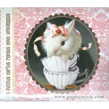 Paquet de 6 petites cartes et enveloppes Lapin et Souris