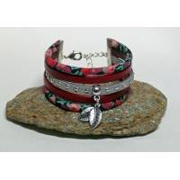 Bracelet Manchette Liberty Cordon Liberty Wiltshire rouge