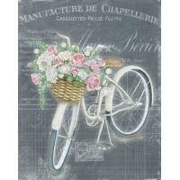 "Carte artisanale Vintage ""Bicyclette blanche fleurie"""