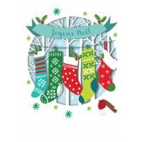 Carte découpée au laser Joyeux Noël Les chaussettes