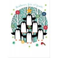 Carte découpée au laser Bonheur, Joie et Santé Les Pingouins