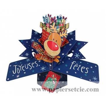 """Carte Pop Up de Voeux """"Joyeuses Fêtes Le Renne"""""""