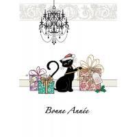 Carte double Bonne Année Chat et Cadeaux