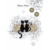 Carte double Bonne Année Couple Chats noirs