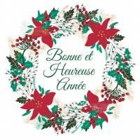 Carte double Bonne et Heureuse Année Roses de Noël