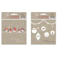 Pack de 6 Cartes Meilleurs Voeux Guirlande et Oiseaux