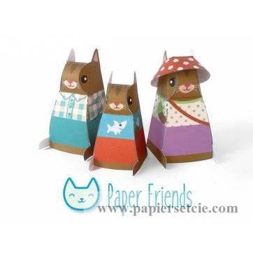 """Jouet en Papier """"Famille chats"""" à monter soi-même"""