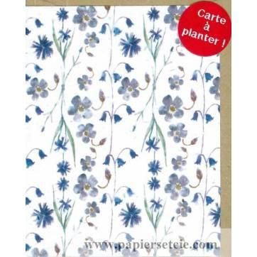 Carte à planter Hannah Marchant Petites Fleurs bleues, fond bleu, graines Fleurs des champs