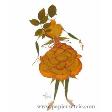 "Carte ""Marie Lise feuillages"" La Robe Rose"
